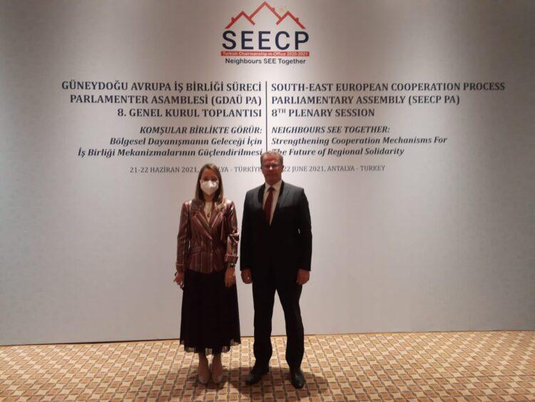 Deputeti Hysni Ismaili u takua me kryesuesen e Parlamentit Turk të SEECP, znj. Derya Bakbak